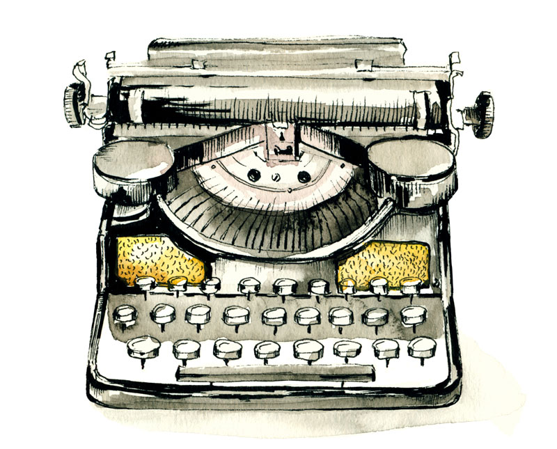 Typewriter in watercolor.